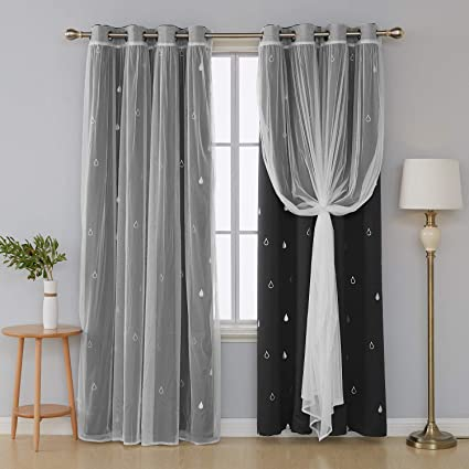Amazon.com: Deconovo Mix and Match Curtain Set 2-Piece Silver ...