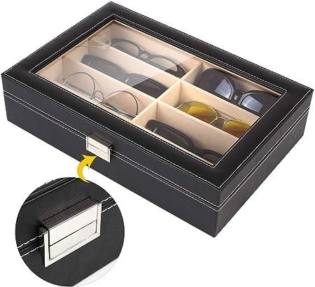 MVPower Caja para Gafas con 8 Estuches para Guardar y Almacenar Anteojos, Organizador y Soporte de Gafas de Sol, Regalo para la Navidad y el Año Nuevo: Amazon.es: Hogar