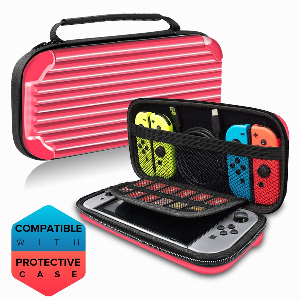 E T Nintendo Switch Case, Travel Carrying Case Hard Shell Protective Game Box Case Pouch for Nintendo Switch Console & Accessories, Switch Traveler Deluxe and Storage Case Messenger Bag (Red)