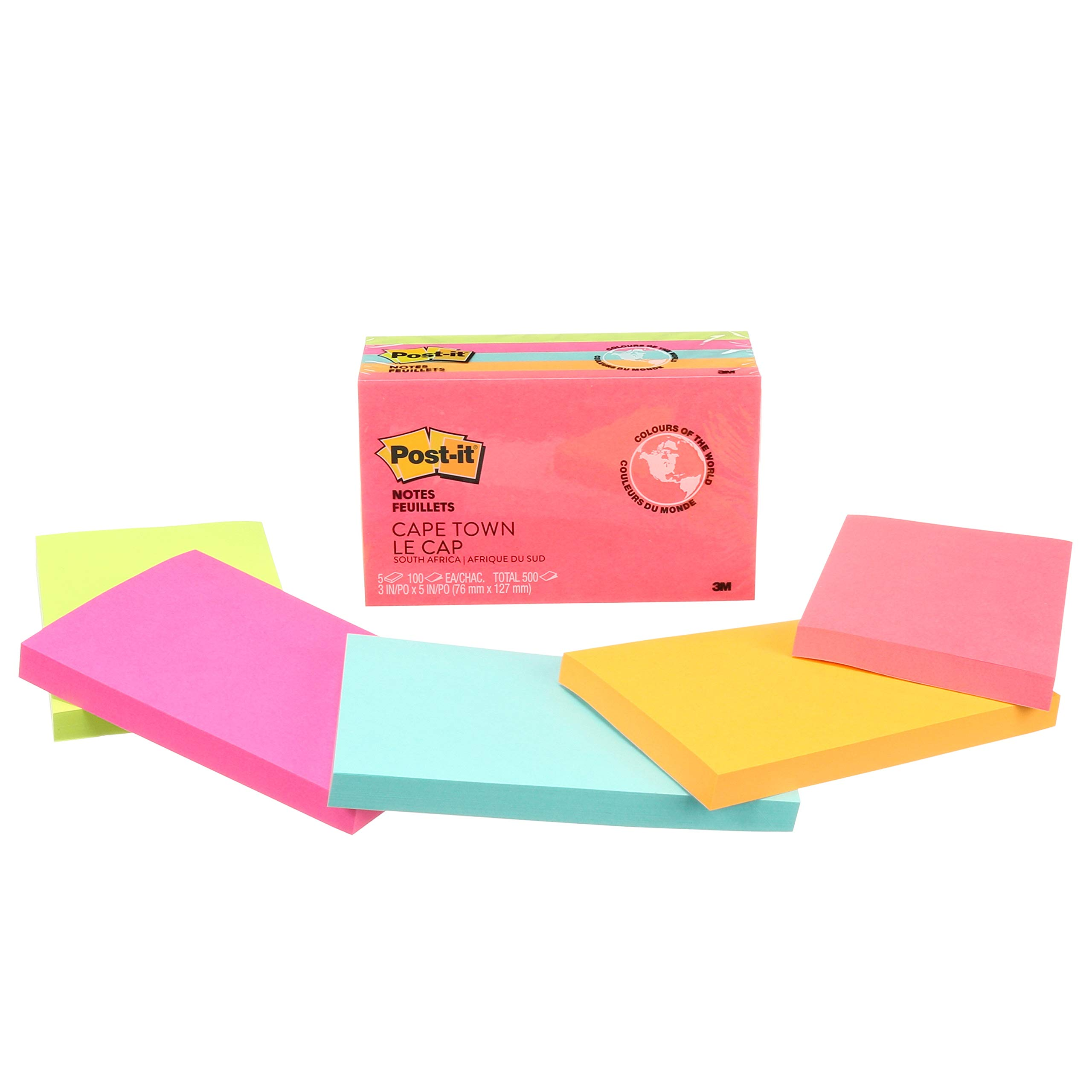 Post-it Notes 6555PK Original Pads in Cape Town Colors, 3 x 5, 100-Sheet (Pack of 5) - 655-5PK by Post-it