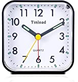 Tinload Small Battery Operated Analog Alarm Clock Silent Non Ticking, Ascending Beep Sounds, Snooze,Light Functions, Easy Set(Black)