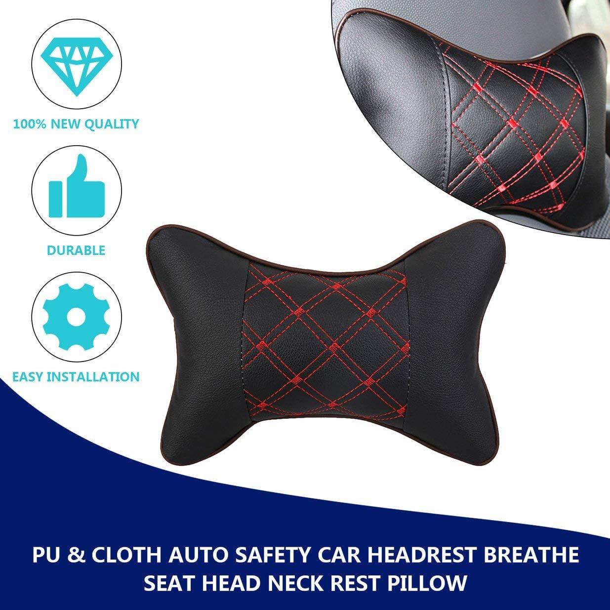 Sairis PU y Tela Excelente Durabilidad Auto Seguridad Reposacabezas del Coche Respirar Asiento Cabeza Cuello Almohada de Descanso Universal Fit para Todos los veh/ículos