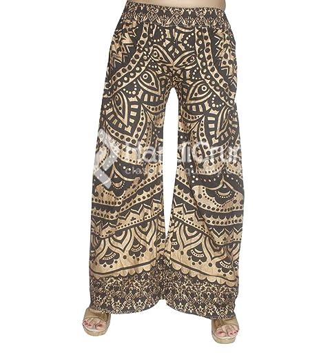 Exportaciones Hechas a Mano Piernas Anchas de Mujer Yoga de Cintura Alta Negro Dorado Ombre Imprimir Pantalones Palazzo, Pantalones Sueltos (XX-Large): ...