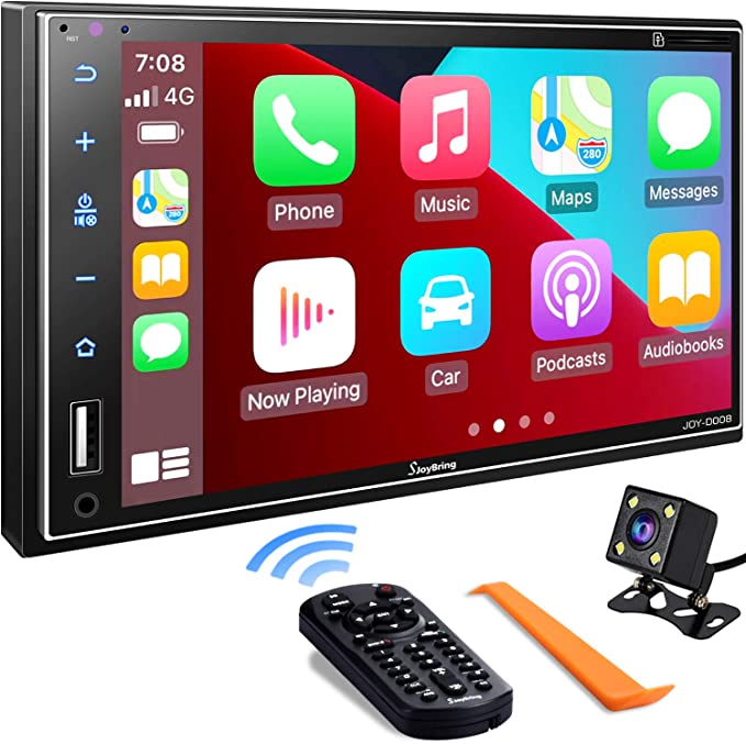 Double Din Car Stereo Compatible with Apple Carplay, 7 Inch Full HD Capacitive Touchscreen - Bluetooth, Mirror Link, Backup Camera, Steering Wheel, Subwoofer, USB/SD Port, A/V Input, FM/AM Car Radio | Amazon