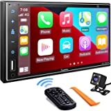 Double Din Car Stereo Compatible with Apple Carplay, 7 Inch Full HD Capacitive Touchscreen - Bluetooth, Mirror Link, Backup C