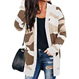 BTFBM Women Chic Leopard Print Cozy Sweater Pockets Button Down Open Front Loose Knitted Long Cardigan with Sleeves