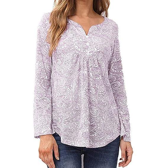 d49f4f665d3d Lenfesh Camisas Mujer, Camisetas para Mujer Camisetas Largo Retro ...