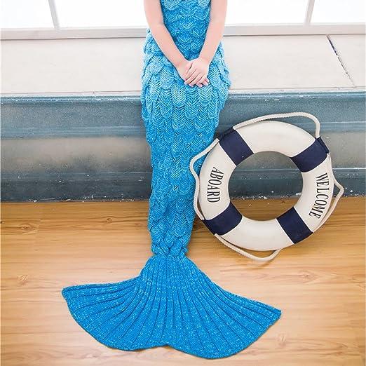 Niños de sirena cola de pez manta de punto Crochet Cálido Suave Sofá Cama salón niña Lapghan alfombra saco de dormir: Amazon.es: Hogar