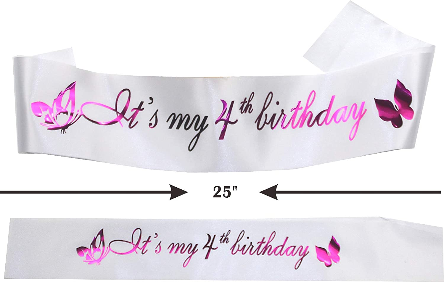 4th Birthday Decorations Party Supplies 4th Birthday Party Supplies and Decorations 4th White Satin Sash It/'s my 4th Birthday 4th Birthday Gifts Happy 4th Birth Purple 4th Birthday Tiara and Sash