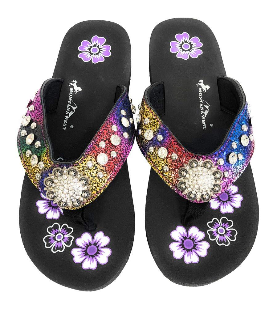 9c1c207fa Montana West Flip Flops Sandal Crackle Texture Crystals Floral Concho  Rainbow 8