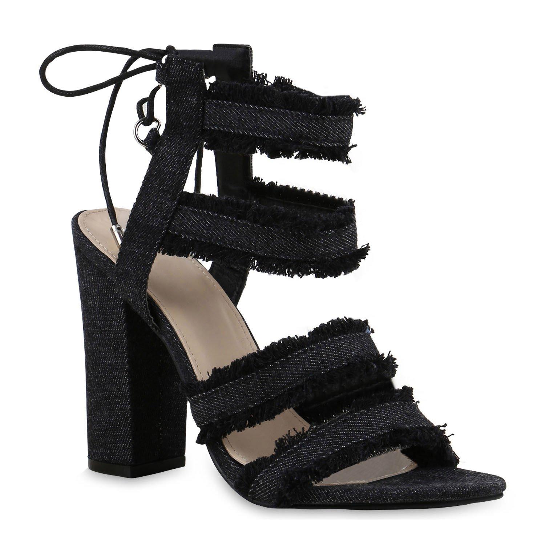 Stiefelparadies Damen Riemchensandaletten mit Blockabsatz Flandell Schwarz Stoff Fransen