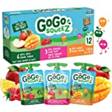 GoGo squeeZ Unsweetened Applesauce Pouches, Variety Pack (Apple/Apple Raspberry/Apple Mango Flavours), No Sugar Added…