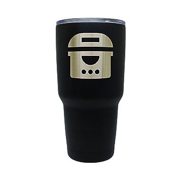 Freidora eléctrica de acero inoxidable negro vaso, 30 oz con aislamiento vaso, grabados con láser en EE. UU.: Amazon.es: Hogar