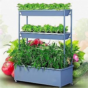 ガードレール Planter Box Raised Garden Bed Vertical Metal with 3 Containers, Elevated Freestanding Planter, Growing Vegetable, Herb, Flowergarden Bed