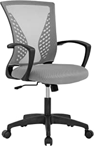Vnewone Computer Mesh Executive Task Rolling Gaming Swivel Modern Adjustable with Mid Back Lumbar Support Armrest for Home Women Men (Grey)