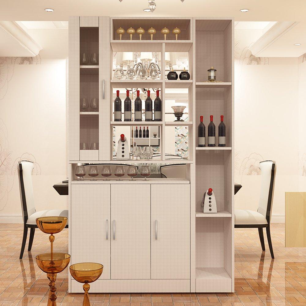 簡約現代餐廳廚房家具酒柜酒架板式可定制 酒柜-15 (浮雕白色)