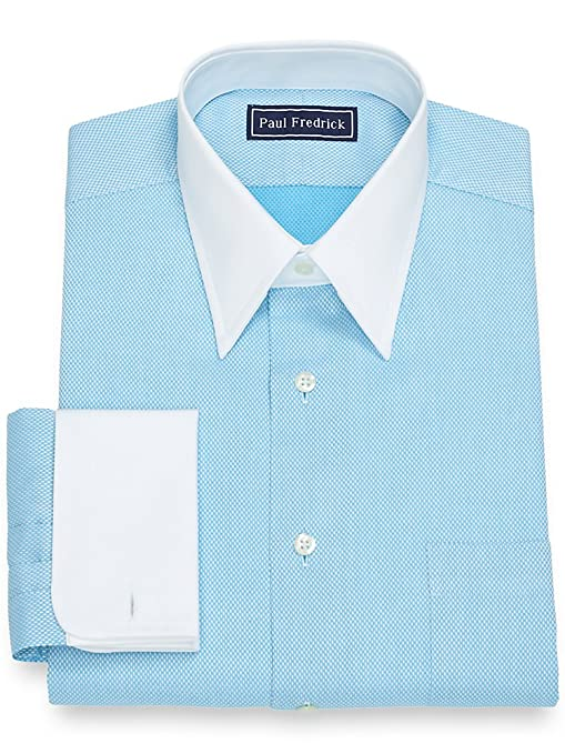 1920s Style Mens Shirts | Peaky Blinders Shirts and Collars Paul Fredrick Mens Cotton Diamond Pattern Dress Shirt $84.50 AT vintagedancer.com