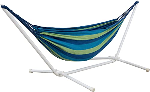 AmazonBasics Polycotton Double Hammock with White Easy Assembly Powder-Coated Steel Stand – Blue and Green Stripe