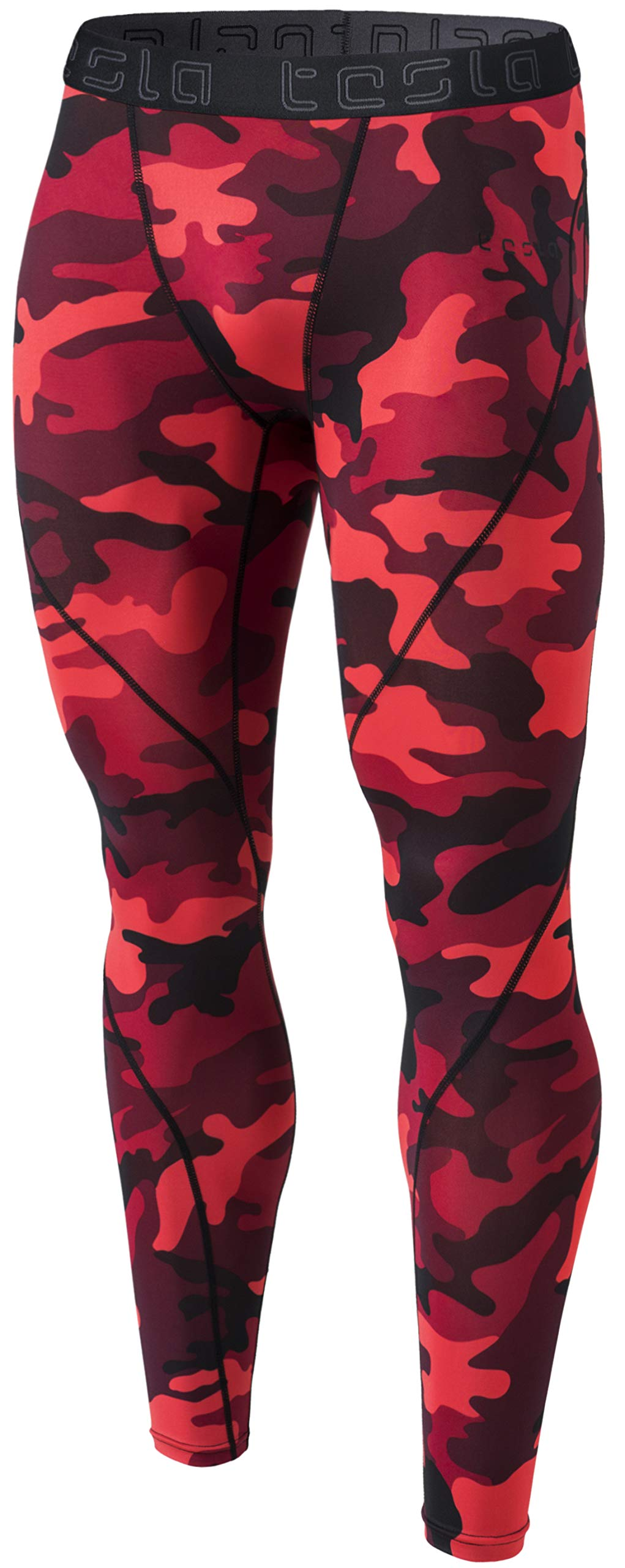 TSLA Men's Compression Pants Running Baselayer Cool Dry Sports Tights, Athletic(mup19) - Camo Red, Large by TSLA