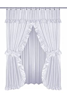 Diamond Dot Ruffled Double Swag Fabric Shower Curtain With Valance And Liner