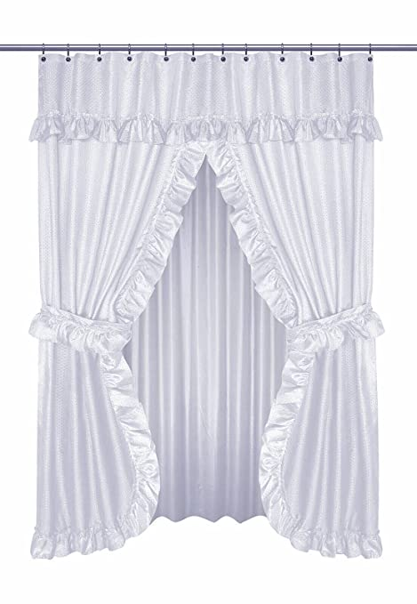 Buy Diamond Dot Ruffled Double Swag Fabric Shower Curtain With