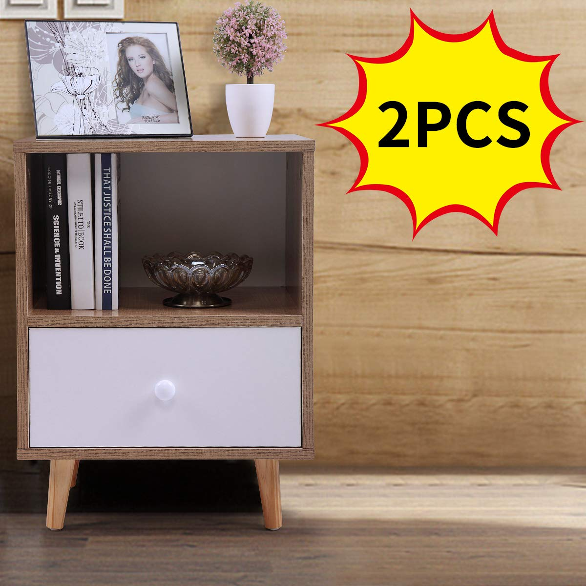 Set of 2 Night Stand 2 Layer w/Drawer Bedside End Table Organizer Bedroom by Betterhomechoice (Image #2)