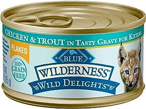 Blue Buffalo Blue Wilderness Wild Delights Kitten Flaked Chicken & Trout Wet Cat Food, 3 oz., Case of 24, 24 X 3 OZ