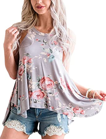 00b339bf78e BABSUE Womens Floral Print Tunic Tops Tee Shirt High Neck Halter Flowy Tank  Tops Camis Grey