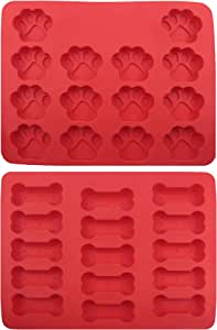 GYBest GGT01 Food Grade Large Ice Cube Trays, Silicone Dog Bone and Dog Paw Pattern Baking Molds, 2-Pack, Red