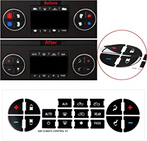 Xotic Tech AC Dash Button Sticker Repair Kit - Radio AC Control Button Vinyl Overlay Decal Replacement for Chevrolet Silverado Tahoe Buick Enclave GMC Sierra Acadia 2007-2015 GM Vehicles
