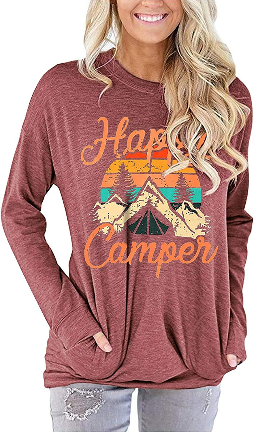 Happy Camper Shirt for Women Funny Cute Graphic Tee Short Sleeve Letter Print Casual Tee Shirts