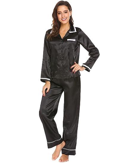 ec4c582e2dacc9 ADOME Damen Satin Pyjama Lang Schlafanzug Zweiteiliger Hausanzug, EU  36(Herstellergröße: S)