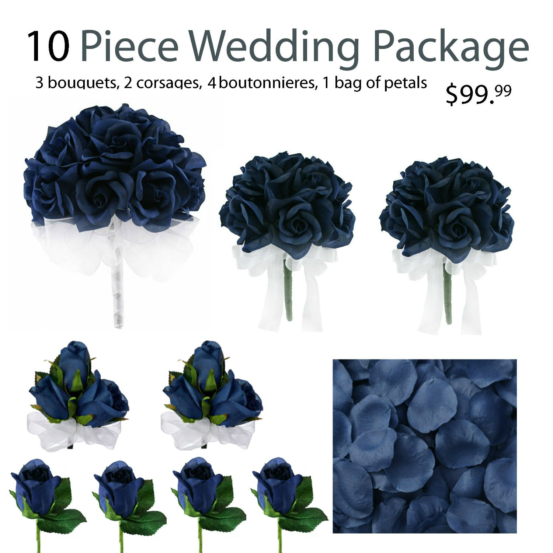 10-Piece-Wedding-Package-Silk-Wedding-Flowers-Bridal-Bouquets-Navy-Blue-Bouquets