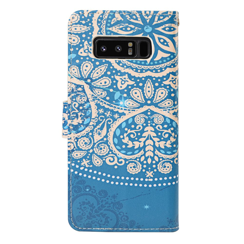 Galaxy Note 8 Case, MagicSky Galaxy Note8 Wallet Case, Premium PU Leather Wristlet Flip Case Cover with Card Slots & Stand for Samsung Galaxy Note8 - Flower2