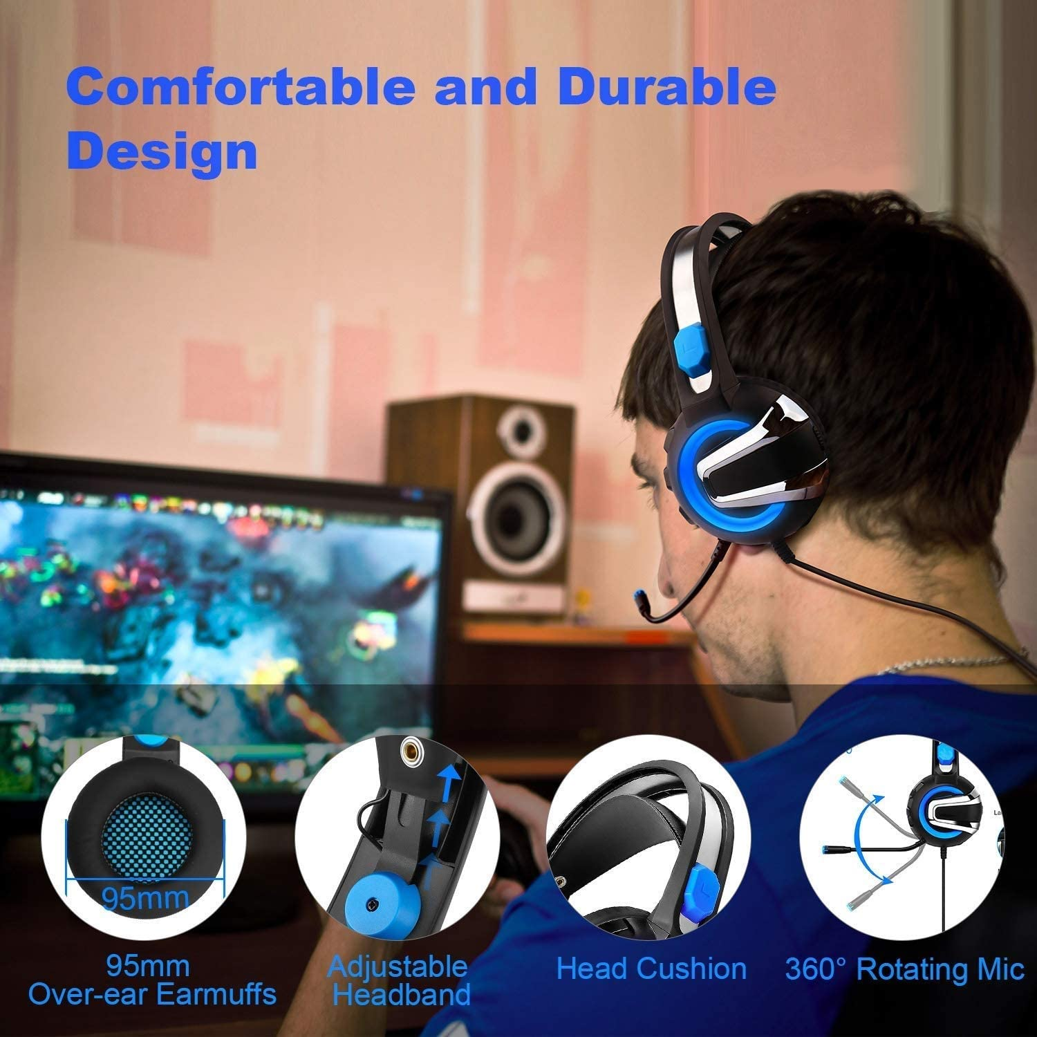 7.1-Channel Headset Noise Reduction Noise-canceling Over-Ear Soft Earmuffs and Adjustable MQQ Wired Gaming Headset Wired with Microphone LED Light Stereo Sound Color : Red
