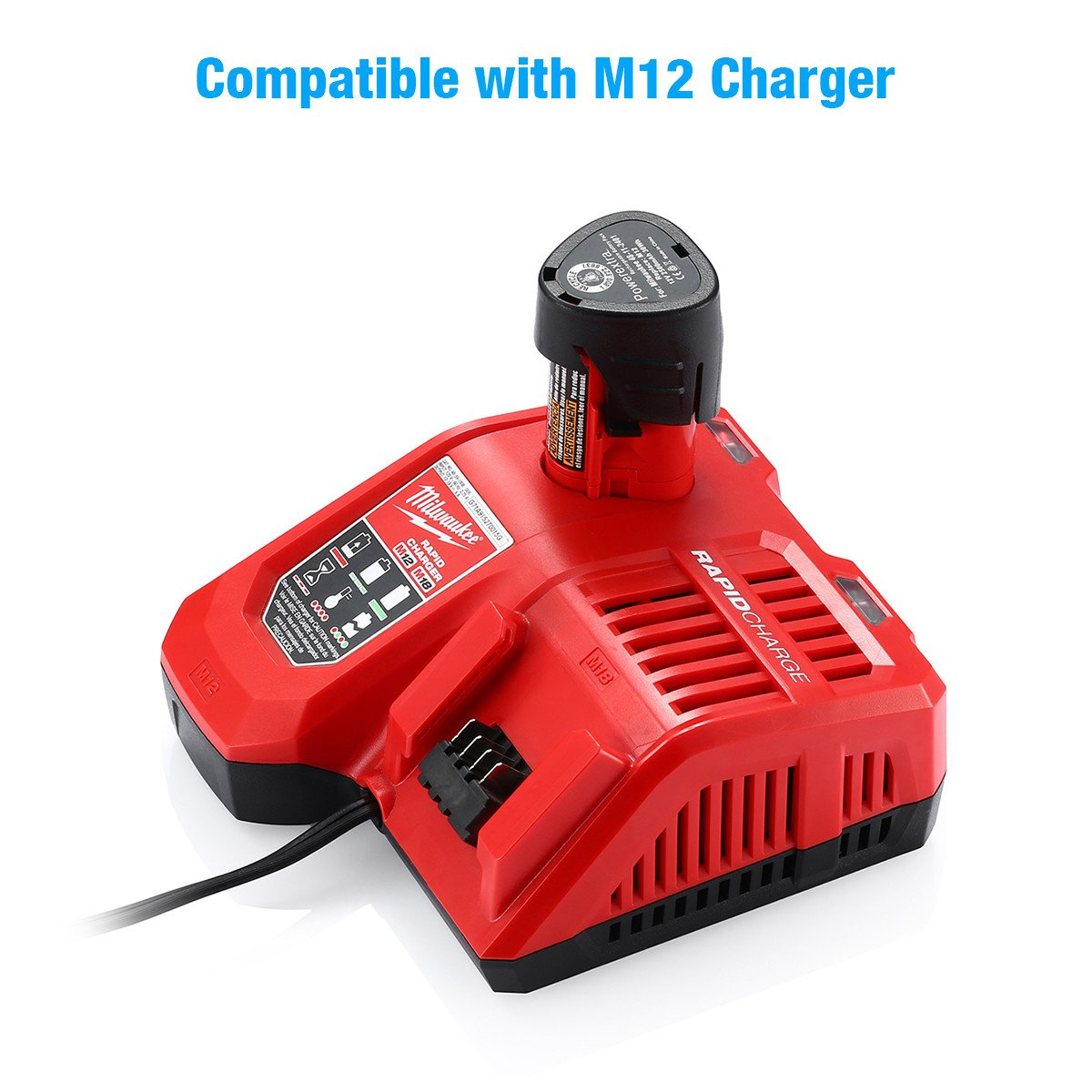 Powerextra 2 Pack 12V 2500mAh Lithium-ion Replacement Battery Compatible with Milwaukee M12 Milwaukee 48-11-2411 REDLITHIUM 12-Volt Cordless Milwaukee Tools Milwaukee 12V Battery Lithium-ion by Powerextra (Image #6)