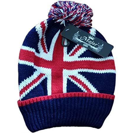 07d36dc0081 UNISEX MENS LADIES UNION JACK FLAG WINTER KNITTED BOBBLE WOOLY HAT SKIING  BEANIE  Amazon.co.uk  Kitchen   Home