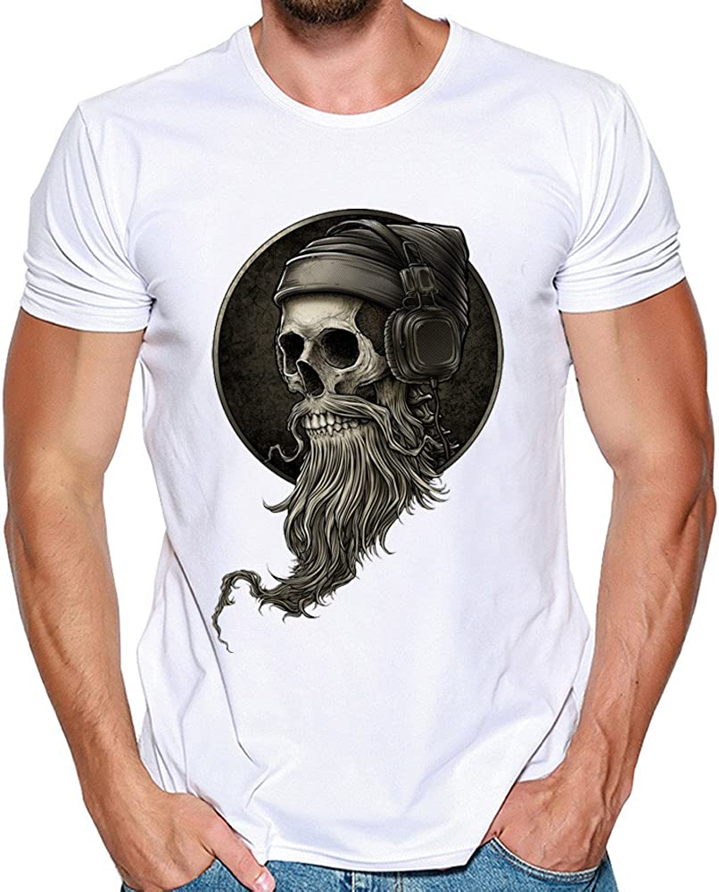 F/_Gotal Mens T-Shirts Printed Big and Tall Fashion Skull Printed Hip Hop Summer Short Sleeve Casual Tees Blouse Tops