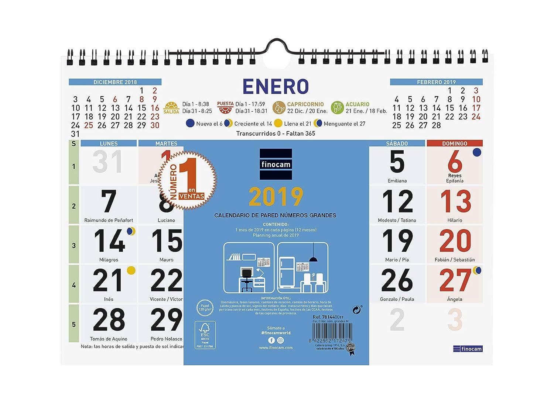 Calendario Numeros Grandes Septiembre 2019.Finocam 781450019 Calendario De Pared 2019