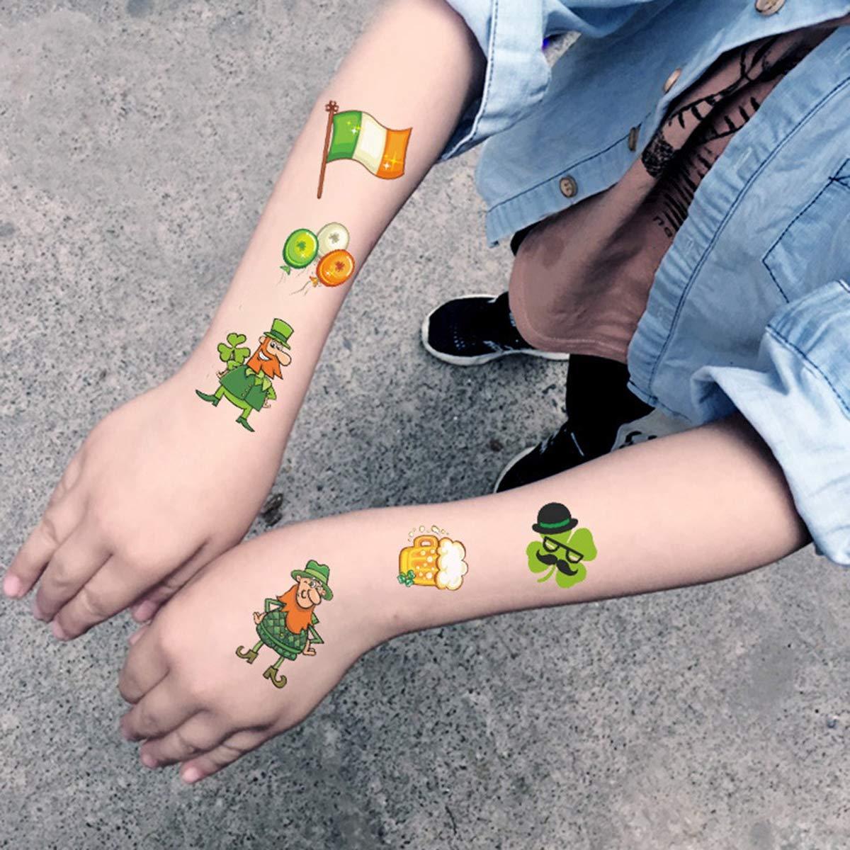 Lurrose de Pegatinas de Tatuaje de día de St Patrick de 10 Hojas ...