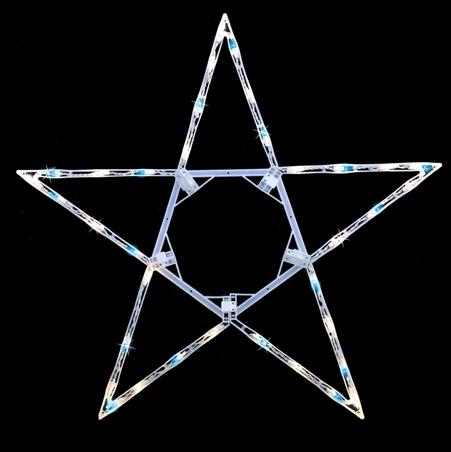 Sienna 32'' Folding Lighted Twinkling Star Christmas Window Decoration - Blue and Clear Lights