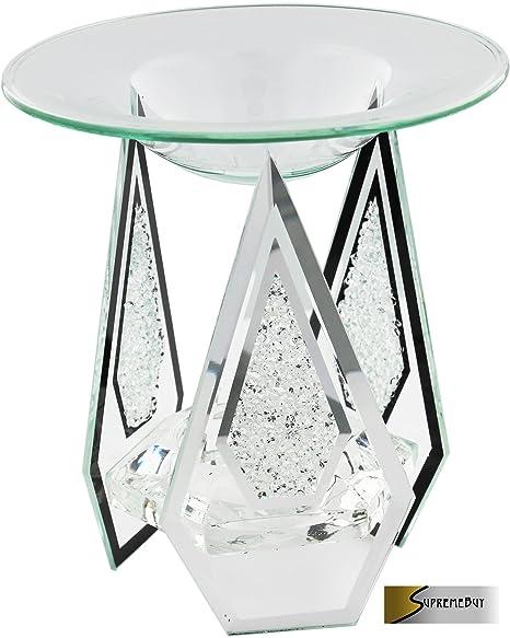 Diamond Shaped Glass Yankee Candle Tart/Oil Burner Tea Light Candle Holder