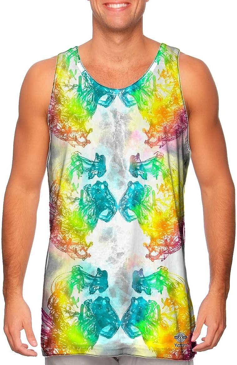 Tshirt Yizzam- Mens Tank Top Ink Splash Purple Rainbow