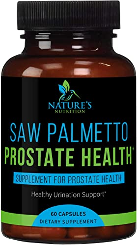 Prostate Supplements for Men 1300 mg – Extra Strength Saw Palmetto Extract Complex – Made in USA – Best Vegan Natural Urination Support Pills with Beta Sitosterol, Non-GMO – 60 Capsules