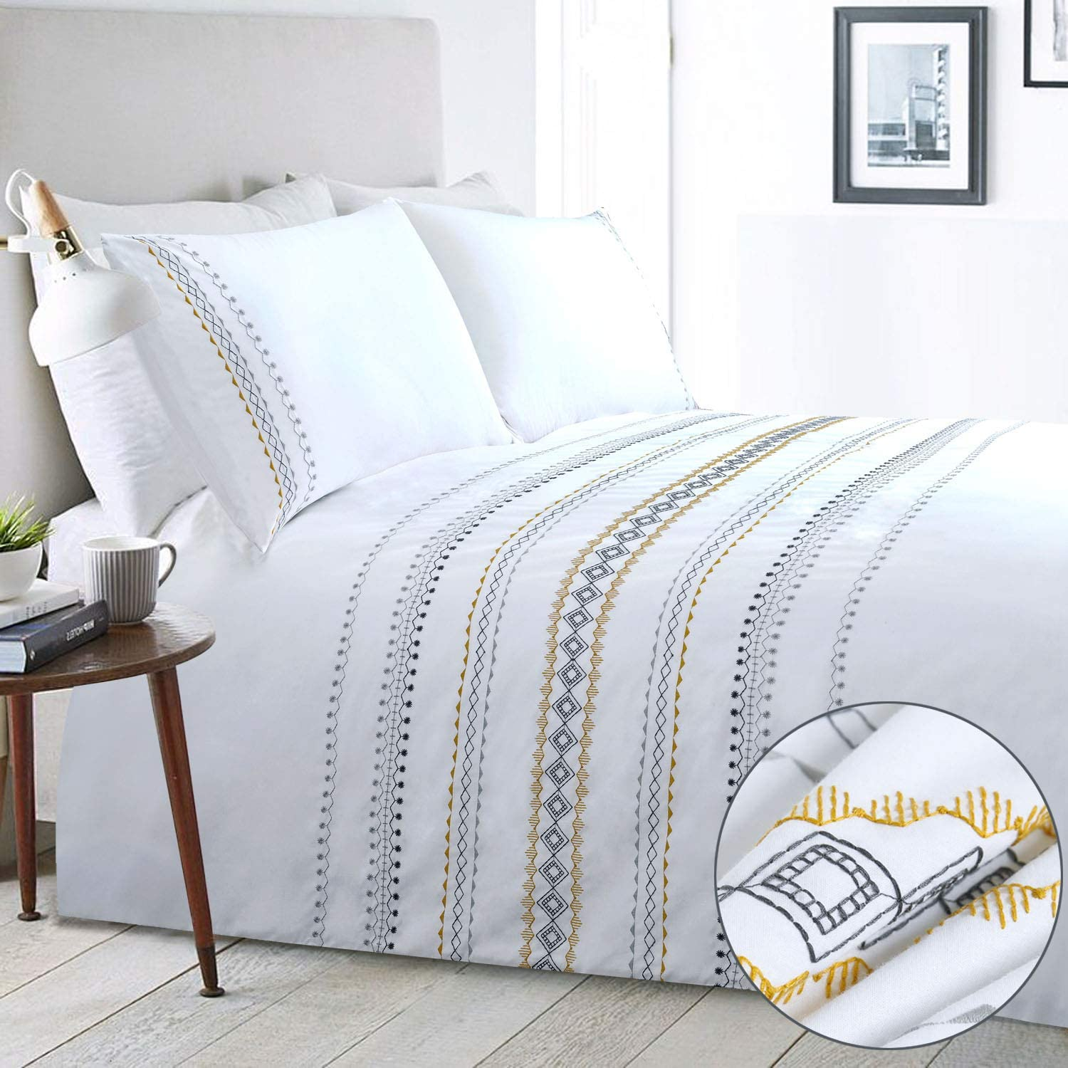 YINFUNG Boho Duvet Cover White Queen Aztec Geometric Bedding Set Cotton 3 Pieces Bohemian GEO 90x90 Textured Striped Moroccan Embroidered Mustard Patterned Gypsy Comforter Quilt Cover Zip Minimalist