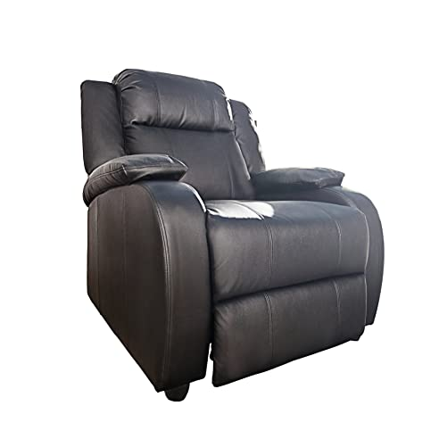 Relaxsessel mit liegefunktion  Moderner Relaxsessel HOLLYWOOD Kunstleder schwarz verstellbar ...