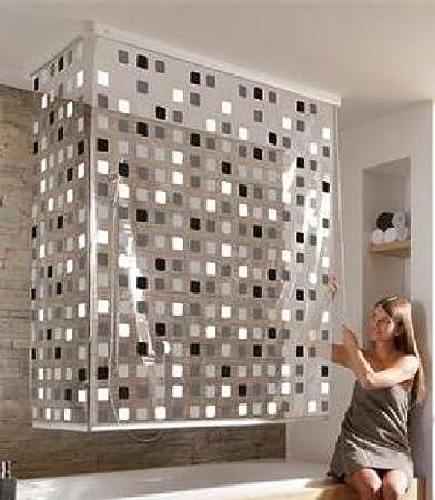 Hochwertiges Eck Duschrollo - Badrollo für die Dusche oder Wanne-Design 6  :Mosaik schwarz /- Grau/-weiß-Kleine Wolke