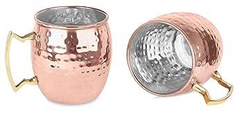 Zap Impex ® Reines Kupfer Moscow Mule Tasse, Keine Beschichtung, Innen  Nickel, Gehämmerten