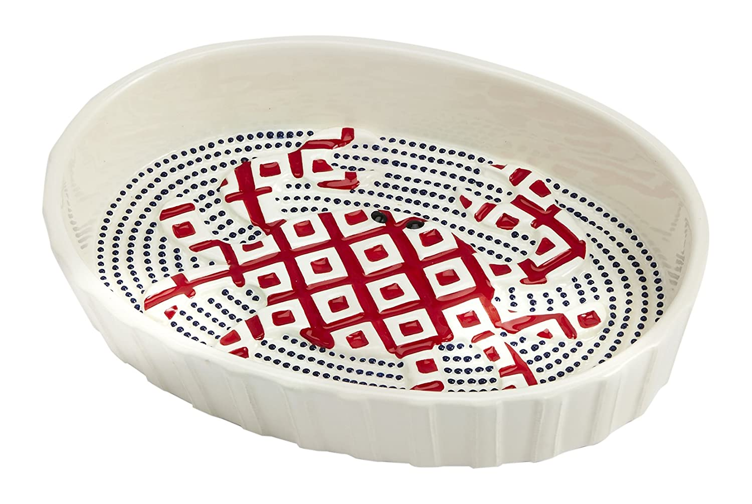 Christmas Tablescape Décor - Mud Pie small hand-painted red crab textured ceramic oval oven baker