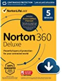 Norton 360 Deluxe – Antivirus software for 5 Devices with Auto Renewal - Includes VPN, PC Cloud Backup & Dark Web…